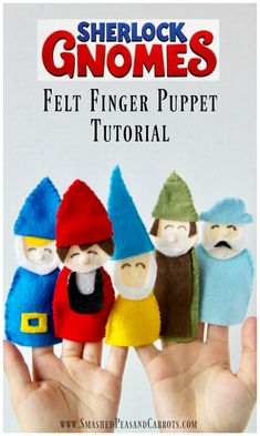 This Gnome Felt Finger Puppet Tutorial, inspired by Sherlock Gnomes in theaters March 23, is a super cute craft todo with your kids that promotes imagination and play for all ages. #sponsored @SherlockGnomes