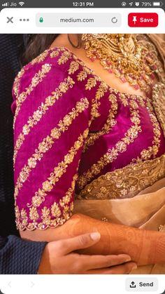 Blouse Designs High Neck, Hand Work Blouse Design, Stylish Blouse Design, Fancy Blouse Designs, Wedding Saree Blouse Designs, Maggam Work Designs, Sleeves Designs For Dresses, Designer Blouse Patterns, Maggam Works