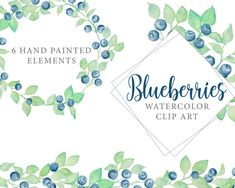 Blueberry frames clip art - Watercolor frame clip art - Blueberry watercolor Watercolor Rose, Watercolour Painting, Frame Clipart, Wedding Invitation Design, Painting Frames, Gift Tags, Blueberry, My Design, Handmade Items