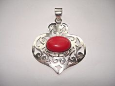 """AB Red Coral Heart Filigree Pierced .925 Silver Setting Pendant Necklace 2.25"""" #Handmade #Pendant"""