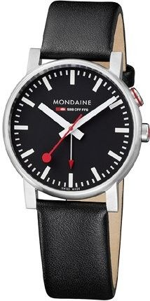 The official, exclusive Swiss Railways Watch. This mens Mondaine Evo watch has a stainless steel case, set around a black dial featuring white markers and sweeping red hand. A black leather strap completes the look. Swiss Railway Clock, Swiss Railways, Red Accents, Silver Bars, Stainless Steel Case, Watches For Men, Black Leather, Evo, Accessories