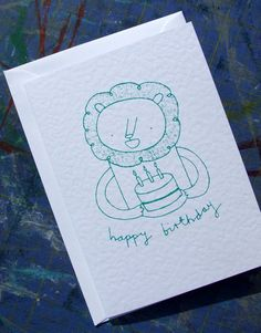Lion and Cake - Screen-printed Birthday Card. £2.00, via Etsy.