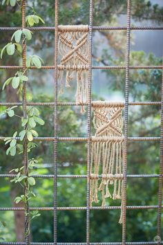 Andy shares a new idea for creating macramé yard art: Start with a trellis, and add vines and macramé squares. Jute is the perfect all-weather material.
