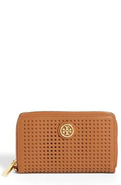 Tory Burch  Robinson   Perf  Zip Continental Wallet