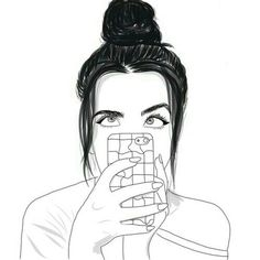 girl, outline, and draw image Tumblr Girl Drawing, Tumblr Sketches, Tumblr Drawings, Drawing Sketches, Tumblr Outline, Outline Art, Outline Drawings, Cute Drawings, B&w Tumblr