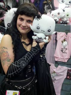 Cadaverson Nightshade is RIGHT at home with this delightful mortal, who wears such a pretty web on her arm. You do realize Cadaverson is quite fond of spiderkind and arachnids of all shapes and sizes, don't you?    San Diego Comic Con    #Vamplets #Plush #ComicCon
