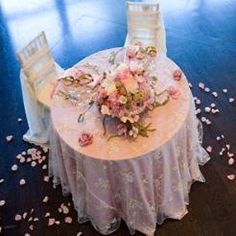 Sweetheart Table featuring Pink Lamour, Silver Calista, and Ivory Chiffon #wedding #bride #groom