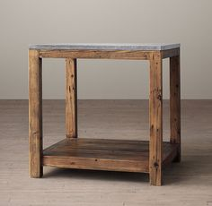 24sq 24h $650 RH's Bluestone Parsons Side Table:A classic setting for remarkable materials, our Parsons rendering pairs the individuality of reclaimed pine with the fine grain of natural bluestone.
