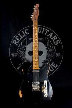 #Relic #Guitars The Hague #Telecaster, deep black, maple neck, medium relic, super twang pickups #guitarporn