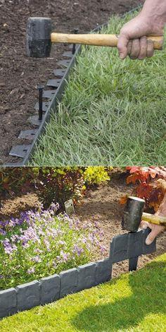 Use Manufactured Plastic Edge Material to Create a No Dig Garden Edging #GardenEdging #LandscapeEdging