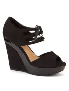 Black Lace Up Cut Out Patent Insert Wedges Low Wedge Sandals, Low Wedges, Shoe Gallery, New Look, Lace Up, Shopping, Shoes, Black, Women