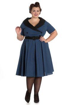 a4ef8f8e8574 Vintage Plus Size Bridget 50s Dress - Black and Navy Vintage Tea Party  Dresses, Vintage