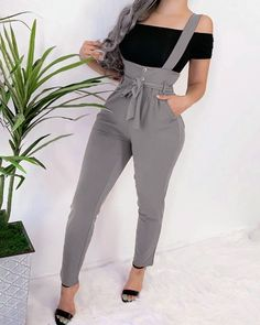 Solid High Wasit Casual Suspender Jumpsuit Women's Online Shopping Offering Huge Discounts on Dresses, Lingerie , Jumpsuits , Swimwear, Tops and More. Trend Fashion, Fashion Design, Fashion Women, Latest Fashion, Slim Hips, Suspender Pants, Rompers Women, Overall, Long Pants