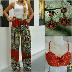 """Palazzo wide leg pants NWOT Brand new without tags  Wide leg pants with a fabulous bohemian print!! Complimentary color combination! High waisted. Light weight and breezy material. Pair with heels and a tank top or crop top and you are looking HOT.  Size medium Length 41.5"""" Inseam 31.5"""" Rise 11.5"""" Elastic bands at waist to provide stretch. 100%polyester  MADE IN THE USA   NO TRADES Price is firm unless bundled ABS Allen Schwartz Pants Wide Leg"""