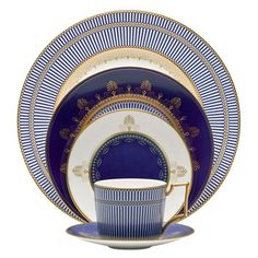 Wedgwood has produced many patterns so you are likely to find vintage or antique dinnerware made by Wedgwood along with retired patterns. This pattern is Anthemion Blue.