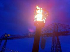 Twitter / boroboy71: Awesome photo of Middlesbrough's Beacon with the iconic Transporter Bridge in the background #proudtobeboro