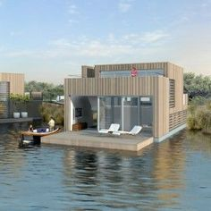 The Boathouse: a new definition to lakefront living! H Design, Rustic Design, House Design, Cabana, Houses In Germany, Floating Architecture, Houseboat Living, Container Shop, Water House