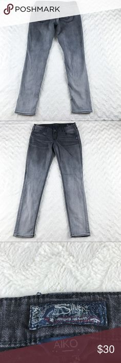 Silver Aiko Mid Skinny Jeans Grey Womens Sz 31 Silver Aiko mid skinny jeans in grey. Women's size 31  Please note: White spot on back of right leg. Minor wear by hem. Otherwise good condition  Measurements (taken with garment laying flat):  Leg Opening: 6 inches  Waist: 16.5 inches  Inseam: 31 inches  Crotch to waist: 8.5 inches Silver Jeans Jeans Skinny