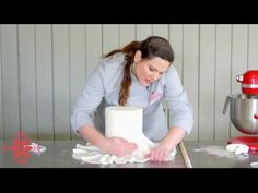 In this video, renowned cake artist Kaysie Lackey teaches how to cover a double barrel cake with fondant.   http://www.sugarworks.com