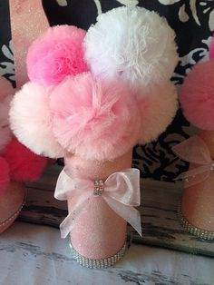 Pink & White Glitter Tulle Pom Centerpieces Shower by UptownAbby, $20.00