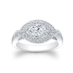 Ladies Platinum Modern pave engagement ring 0.50 ctw by EVSdesign, $1970.00