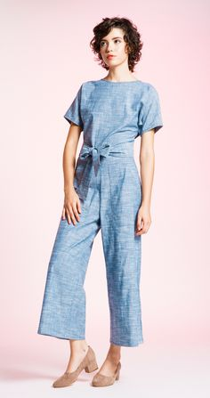 The Vanessa Jumpsuit gives you that easy put together look in one piece. Made from stretch Blue Chambray fabric and featuring front pockets, vneck at the back,