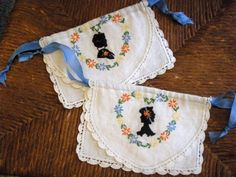 Vintage Silhouette Drawstring Bags Set of 2 by SweetRepeatVintage, $12.00