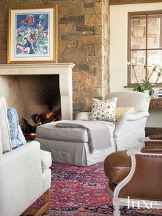 Making a rich patterned rug work with light upholstery
