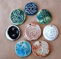 8 Handmade Ceramic Beads  Celtic Pendant assortment by beadfreaky, $15.00