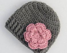 Baby hat, crochet baby hat, baby girl hat, grey and pink, girl winter hat, infant hat, crochet beanie, baby beanie - MADE TO ORDER