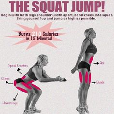 The Squat Jump works your lower body and burns major calories. This is why I love plyos :) #squat #exercise