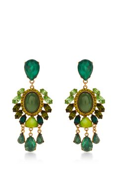 Green Adele Earrings by VICKISARGE for Preorder on Moda Operandi