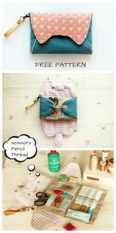 DIY Kitty Cat Sewing Kit Bag Free Sewing Pattern & Tutorial