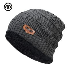 4a9b8966e74 New Men s winter Fall hat fashion knitted black ski hats Thick warm hat cap  Bonnet Skullies Beanie Soft Knitted Beanies Cotton
