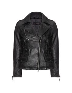 Cabrini Zip detail leather jacket in Black