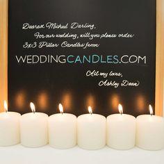 wedding candles, wedding pillars, 3x3 pillars, white candles, candles