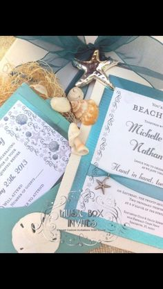 Turquoise silver and white beach stationery musical wedding or birthday party celebration invitation and RSVP card. Comes in box that plays music.