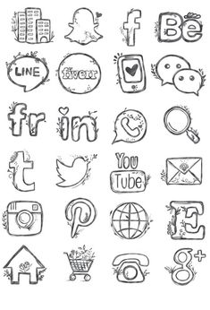 48 hand drawn social media icons social media buttons Etsy Source by carolinaiam Doodle Drawings, Doodle Art, Easy Drawings, Social Media Art, Social Media Buttons, Griffonnages Kawaii, Website Icons, Website Clipart, Social Icons