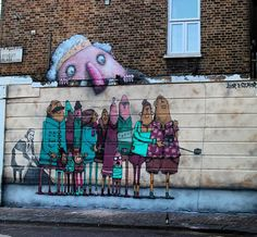 Loving #french #streetartist @ador_2049 and @the_semor paint their way around #london! Here's Something new in #Camden a #group of #tourists concentrating on a #selfie with @banksy and miss #hrh the #Queen behind them! #streetart #streerartcamden #selfiestick #semor #graffiti #graffitiart #graffitistreet by graffitistreet