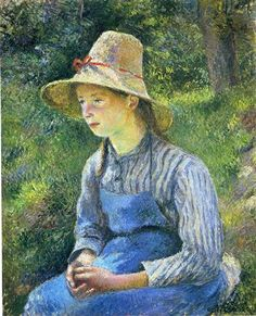 Young Peasant Girl Wearing a Hat - Camille Pissarro 1881