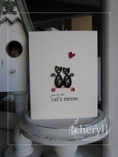 Quilling - shows how quilled cats can look so cute on a card