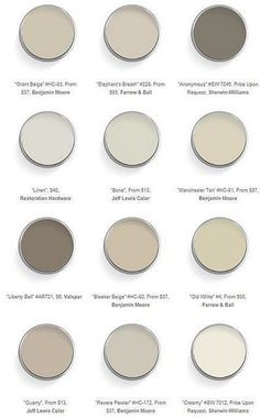 Best Neutral Paint Colors - BM Grant Beige, F & B Elephant's Breath, SW Anonymous, RH Linen, JLC Bone, BM Manchester Tan, V Liberty Bell, BM Blecker Beige, F & B Old White, JLC Quarry, BM Revere Pewter, SW Creamy