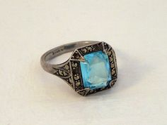 Vintage Marcasite Ring Blue Ring Silver Marcasite by seek2sustain, £30.00