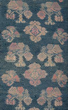 Silk and cotton Maonan minority blanket, Guizhou province, China, early 20th century,