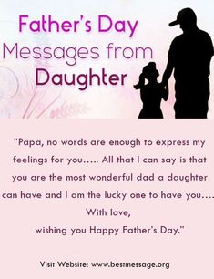 Find the perfect Fathers Day messages from daughter with our latest collection of happy Fathers Day wishes quotes, greetings, Fathers Day messages from daughter to dad. Happy Birthday Papa Quotes, Birthday Message For Father, Happy Fathers Day Message, Best Fathers Day Quotes, Fathers Day Messages, Fathers Day Wishes, Message For Dad, Birthday Quotes For Daughter, Birthday Wishes