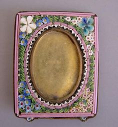 "MOSAIC Made in Italy mosaic mini frame with flower motif including forget-me-nots and tiny pink flowers, 2-7/8"" by 2-1/2""."