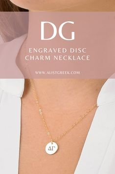 Engraved DG greek letter charm necklace from www.alistgreek.com! #discnecklace #charm #sororitynecklace #customgift #personalized #handmade #custom #sororityjewelry #necklace #greekletters #sororityletters #loveyourletters #bidday #graduaton #biglittlereveal #deegee #dg #deltagamma #delta #gamma