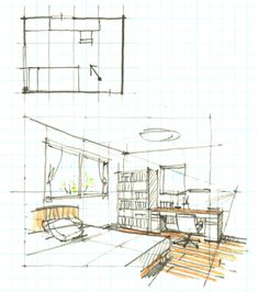 Sketch Design, 3d Design, House Design, Storyboard Drawing, Logos Retro, Casa Patio, Architecture Concept Drawings, Perspective Drawing, Interior Sketch