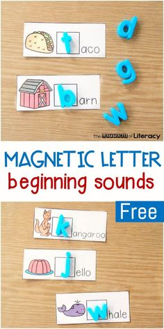 Alphabet Magnet Beginning Sounds Literacy Center This alphabet magnet beginning sounds center is great for Pre-K, Kindergarten, or early graders who are working on isolating beginning sounds in words. Preschool Literacy, Phonics Activities, Kindergarten Literacy Stations, Alphabet Activities Kindergarten, Center Ideas For Kindergarten, Activities For 1st Graders, Literacy Centres, Writing Centers, Preschool Letters