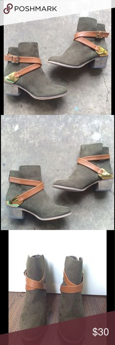 Olive Green/ Gray Suede Booties A beautiful pair of suede booties. They pair perfectly with dresses, jeans, or practically anything else! They look deep olive green in some lighting, and grey in others. They are one of a kind. They were worn once, and perfect except for barely noticeable scuffing on the soles. Make me an offer! Mixx Shuz Shoes Ankle Boots & Booties